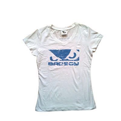 Bad Boy Ladies V Neck Tee Weiß-Blau