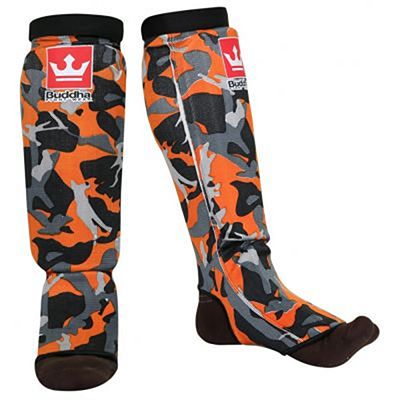 Buddha Army Padded Sock Shinguards Orange