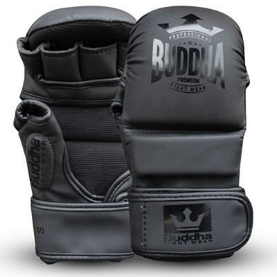 Buddha Competition Leather MMA Gloves Black