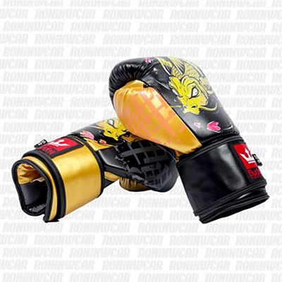 Buddha Fantasy Koi Boxing Gloves Black-Orange