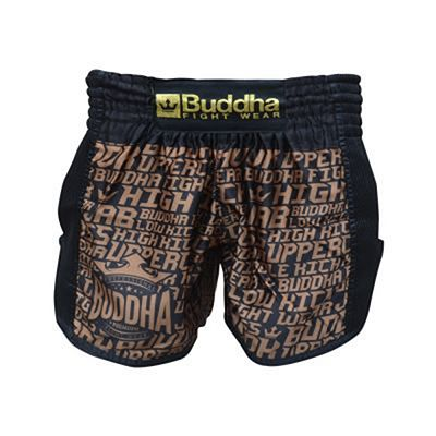 Buddha Golden Muay Thai Shorts Black-Brown
