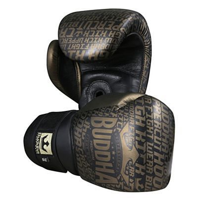 Buddha Golden Premium Leather Boxing Gloves Black-Gold