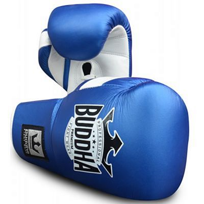 Buddha Leather Boxing Gloves Laces Blue