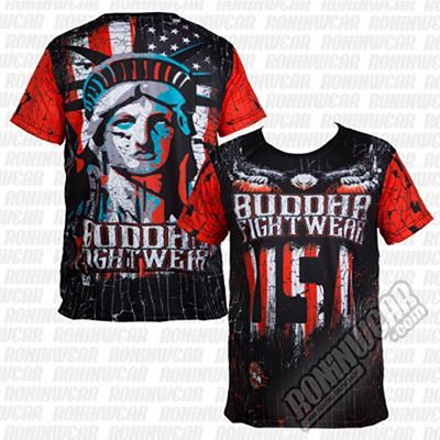 Buddha Liberty Fighter Tee Negro-Rojo