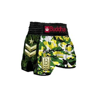 Buddha Retro Army Jungle Muay Thai Shorts Black-Green