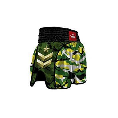 Buddha Retro Army Jungle Muay Thai Shorts Noir-Vert