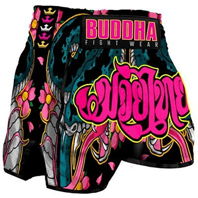 Buddha Retro Cobra Muay Thai Shorts Black-Pink