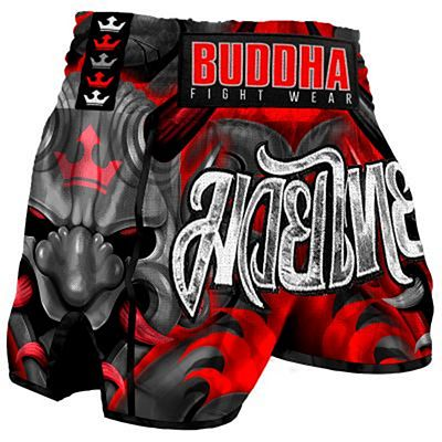 Buddha Retro Demon Muay Thai Shorts Grey-Red