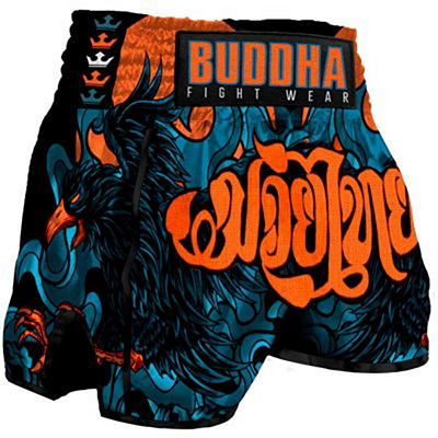 Buddha Retro Eagle Muay Thai Shorts Orange
