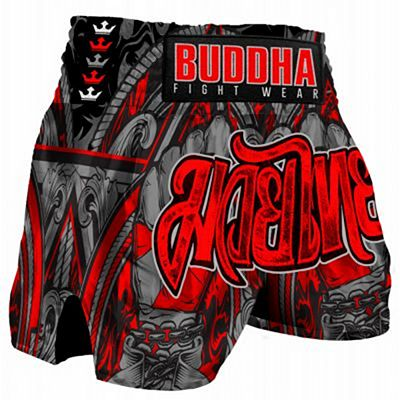 Buddha Retro Muay Thai Shorts Red-Grey