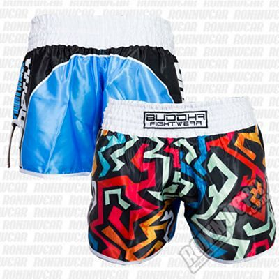 Buddha Retro Pacman Muay Thai Shorts Blanco
