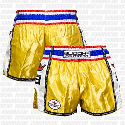 Buddha Muay Thai Shorts Retro Oro-Blanco