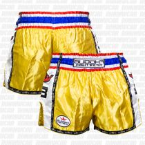 Buddha Muay Thai Shorts Retro Gold-weiß
