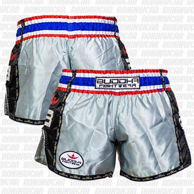 Buddha Muay Thai Shorts Retro Silver-Black