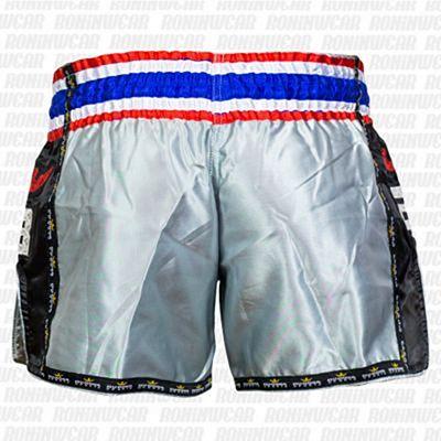 Buddha Muay Thai Shorts Retro Silver-Black