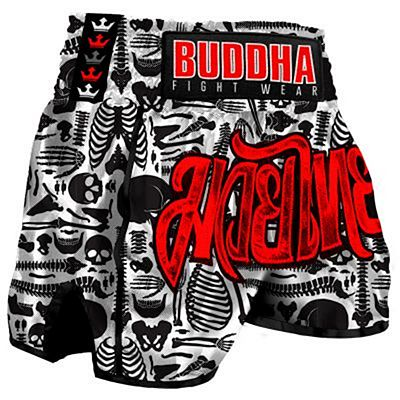 Buddha Retro Skeletor Muay Thai Shorts Black-White
