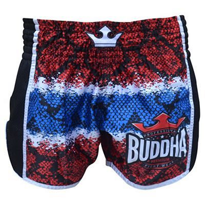 Buddha Retro Snake Thailand Muay Thai Shorts Red-Blue