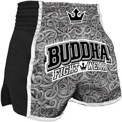 Buddha Retro Special Tattoo Muay Thai Shorts Grey-Black