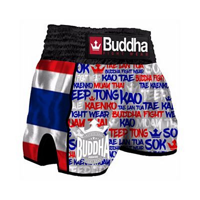 Buddha Retro Thailand Muay Thai Shorts Grey-Red