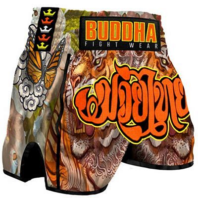 Buddha Retro Tiger Muay Thai Shorts Orange