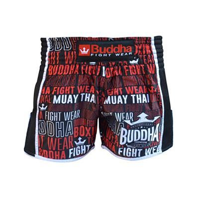 Buddha Retro Top Premium Muay Thai Shorts Black-Red