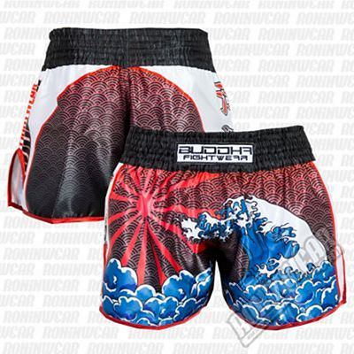 Buddha Retro Tsunami Muay Thai Shorts Black