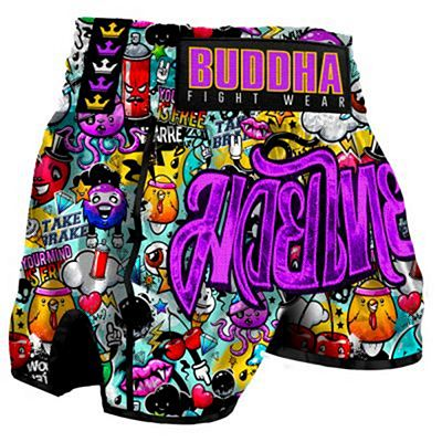 Buddha Retro Zippy Muay Thai Shorts Purple-Black