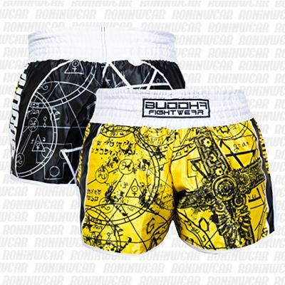 Buddha Retro Zodiac Shorts Yellow-Black