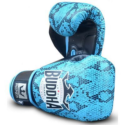 Buddha Snake Boxing Gloves Light Blue-Black