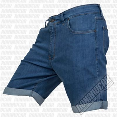 Crossed Denim Shorts Blue