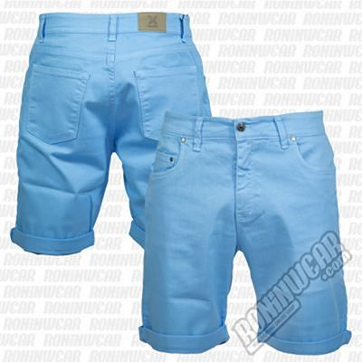 Crossed Denim Shorts Bleu Ciel