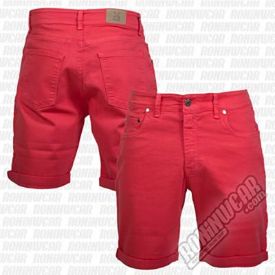 Crossed Denim Shorts Rouge