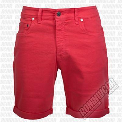 Crossed Denim Shorts Red