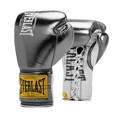 Everlast 1910 Fight Boxing Gloves Laces Metallic Silver