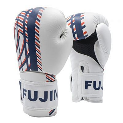 FUJIMAE Advantage Primeskin Boxing Gloves White-Navy Blue