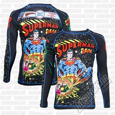 Fusion FG Superman 2001 Comic Cover Rashguard Negro