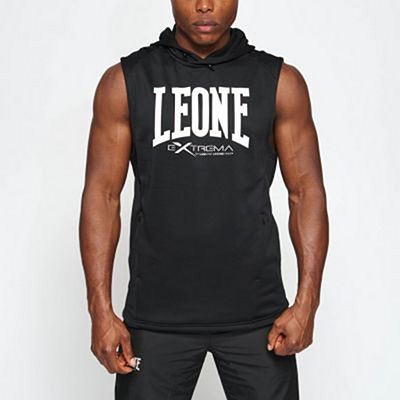Leone 1947 Logo Hooded Sleeveless Sweatshirt Black