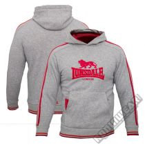 Lonsdale Over The Hoodie Kids Gris-Rojo