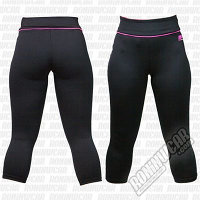 Muscle Pharm MPLPNT427 Ladies Capri Pants Negro-Rosa