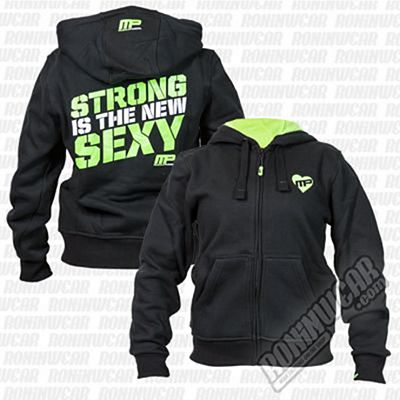 Muscle Pharm Ladies Full Zip Hoodie Negro-Verde