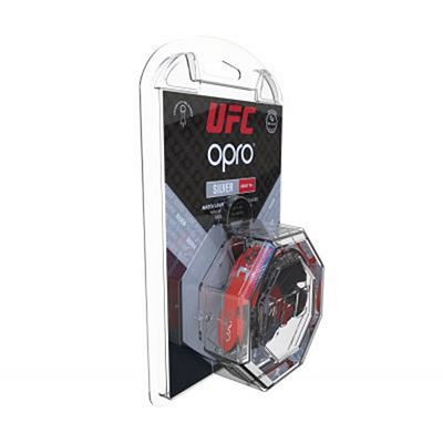 OPRO Self-fit UFC Silver Mouthguard Red-Black