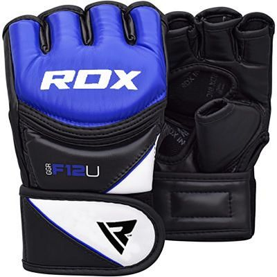 RDX Leather-X Training MMA Grappling Gloves New Blu