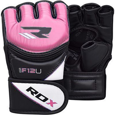 RDX Leather-X Training MMA Grappling Gloves New Rosa