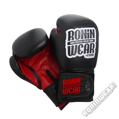 RoninWear Leather Boxing Gloves Black-Red