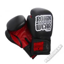 RoninWear Leather Boxing Gloves Nero-Rosso