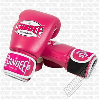 Sandee Fluro Tone Leather Boxing Gloves Rosa-Bianco