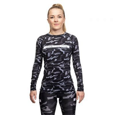 Tatami Ladies Rival Black & Camo LS Rash Guard Musta-Camo