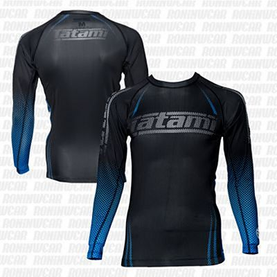 Tatami New IBJJF Rank Long Sleeve Rash Guard Preto-Azul