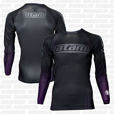 Tatami New IBJJF Rank Long Sleeve Rash Guard Preto-Roxo