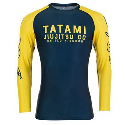 Tatami Supply Co Navy LS Rash Guard Tummansininen-Keltainen